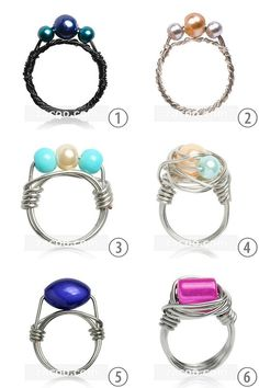 #DIY 6 Wire Wrapped RIngs from Zacoo. Their is a material list of supplies that can be bought anywhere and then links to excellent tutorials for wire wrapping techniques used to create each ring. #diy_jewlery #wire #wire_wrapping #tutorial