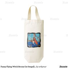 Funny Flying Witch Broom Cat Seagulls Beach Zazzle HEART Wine Bag
