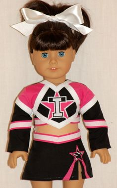 custom cheer outfits web site has tons of cheerleader examples. $69 for custom and takes months to get but wow! their work looks amazing!