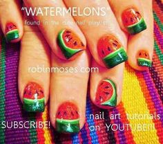 Watermelon nail art by Robin Moses