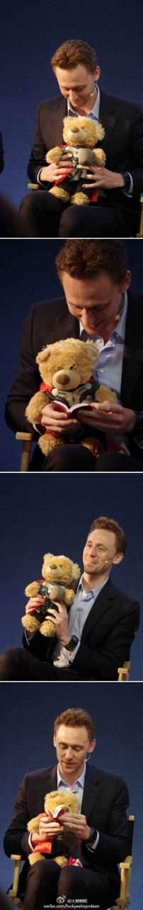 """Tom with a thor build a bear and reading to the thor build a bear... I normally don't have a moment but I'm having one now.... AAAAAAAAAAAAAAHHHHHHHHHHHHHH"" (repinned from Emma Pierce, originally at yourskyyourlimit8.tumblr.com)"