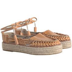 ZIMMERMANN Tie Espadrille (278.795 CLP) ❤ liked on Polyvore featuring shoes, sandals, flats sandals, tassel sandals, leather flats, flatform sandals and woven leather sandals