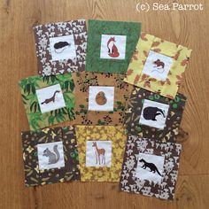 British woodland mammal quilt blocks. Made using Autumn woodland patchwork fabrics from Sea Parrot. Patchwork Fabric, Quilt Blocks, Mammals, Parrot, Fabric Design, Woodland, British, Fabrics, Gift Wrapping