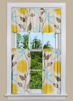 Thomas Paul fabrics make fabulous kitchen curtains and this one is no exception. A modern, floral print in blue, gray and green-gold. These discounted curtains have a limited supply, so order today! Yellow Kitchen Curtains, French Country Curtains, Dahlia Flower, Flowers, Contemporary Curtains, Drapery Panels, Window Dressings, Kitchen Redo, Kitchen Colors