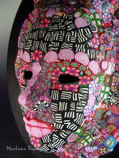 Marlene Brady.  Mask of Polymer Clay Canes.