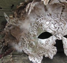 ~Venetian style lace encrusted mask w/feathers in shades of silvers ~*