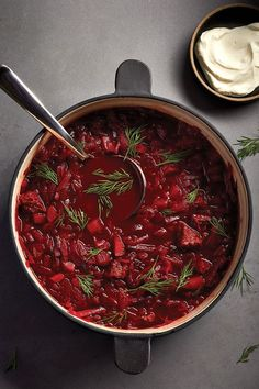 Beef and beet borscht can be made up to three days in advance. The flavours in t… Beef and beet borscht can be made up to three days in advance. The flavours in this traditional Eastern European soup develop and improve overnight. Beet Borscht, Borscht Recipe, Beet Soup, Beet Recipes, Best Soup Recipes, Cooking Recipes, Favorite Recipes, Curry Recipes, Ukrainian Recipes