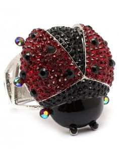 BLACK RED LADYBIRD CRYSTAL LADIES FASHION BRACELET - Fashion Bracelets - Bracelets - Jewellery