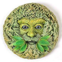 Green Man Plaque 'Forest Spirit' Summer by LadybirdandLeaf on Etsy