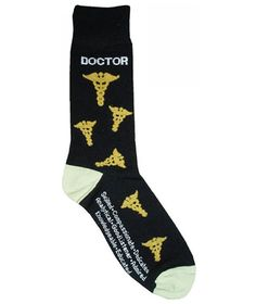 Doctor sock with caduceus pattern. Gifts for doctors. Gifts for medical students.