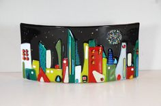 Cityscape in fused glass