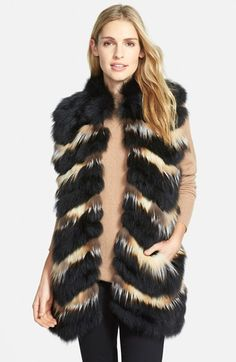 Diane+von+Furstenberg+'Rita'+Long+Genuine+Fox+Fur+Vest+available+at+#Nordstrom