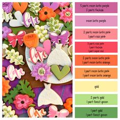 How to make garden wedding flower icing colors - a cookie decorating icing color palette with formulas and ratios for mixing icing colors ~ LilaLoa Icing Color Chart, Color Mixing Chart, Cookie Decorating Icing, Cake Decorating Tips, Cookie Icing, Crazy Cookies, Sugar Cookies, Easter Cookies, Yummy Cookies