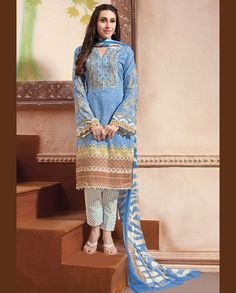 Blue pant style suit with printed sleeves   1. Blue lawn cotton suit2. Comes with matching bottom and dupatta3. Can be stitched upto bust size 42 inches
