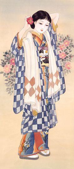 Artwork by Kisho Tsukuda Japanese Art Modern, Japanese Drawings, Vintage Japanese, Japan Painting, China Painting, Japanese Textiles, Japanese Prints, Art Chinois, Japan Illustration