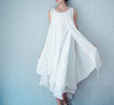 Vestidos maxi - Vestido de las mujeres del chaleco de verano - hecho a mano por minyaZhou en DaWanda