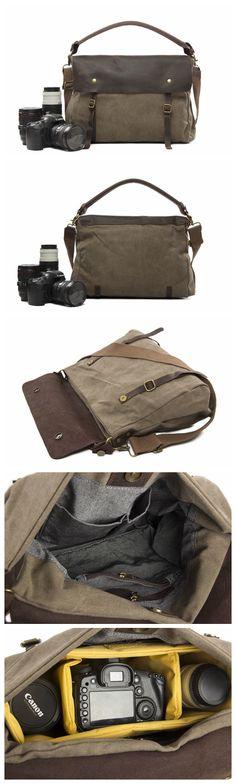 Canvas with Leather Trim DSLR Camera Bag Shoulder Bag Messenger Bag Tote Bag