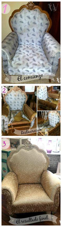 Este es el proceso y resultado de uno de los sillones que hemos restaurado en Wisteria. Parecía casi imposible recuperarlo, pero lo hemos conseguido dándole un aire totalmente nuevo. wisteriadecoracion.com