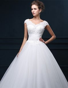 A-Line V Neck Floor Length Tulle Made-To-Measure Wedding Dresses with  Beading   Pearl   Appliques by LAN TING Express   Sparkle   Shine. Klänning  Fest ... 6673549a076da