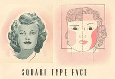 A vintage face contouring tutorial for the oval face, the oblong face, the square face, the round face and the triangular face Contour Makeup, Contouring And Highlighting, Face Makeup, 1940s Makeup, Vintage Makeup, Oval Faces, Square Faces, Face Contouring Tutorial, Contour For Round Face