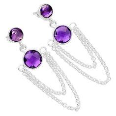 Amethyst 925 Sterling Silver Earrings Jewelry 6275E