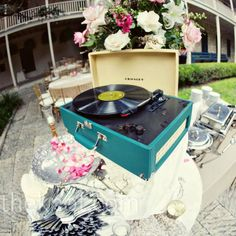 Record Player at Hipster Wedding