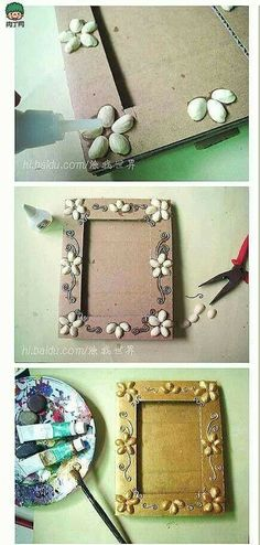 DIY ~ Pistachios Shells Picture Frame More (Diy Photo Frames) Recycled Crafts, Diy And Crafts, Crafts For Kids, Art N Craft, Diy Art, Cadre Photo Diy, Diy Photo, Pista Shell Crafts, Marco Diy