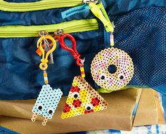 Decorate your backpack with these colorful designs of your favorite foods—a donut, pizza slice, and popsicle. Add googly eyes for an extra fun look!