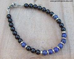Blu lapislazzuli e nero onice Mens braccialetto di perline