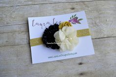 **READY TO SHIP** This flower part of this headband measures approximately 3 by 2 1/2 inches. This hair accessory is made on an elastic
