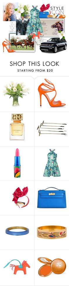 """The Queen of Royal Ascot."" by barefootdancer ❤ liked on Polyvore featuring Rika, NDI, Jimmy Choo, Tory Burch, MAC Cosmetics, Mara Hoffman, David Jones, Hermès, Alexis Bittar and Stila"
