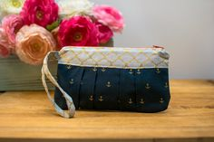 Pleated Wristlet  Navy Anchors by ProjectAwesome on Etsy