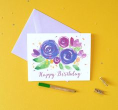 Pretty Purple Blooms Birthday Card Happy Birthday by MospensStudio