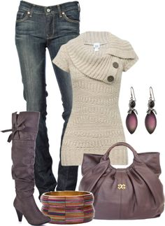 Sweater, jeans, and boots! The sweater would look particularly cute paired with a dark long-sleeved tee, like burgundy or navy.