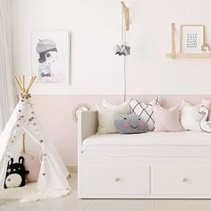he ever practical HEMNES day bed makes yet another appearance in one of our latest room designs. It comes in a selection of colours, one Girls Daybed, Girls Bedroom, Girl Nursery, Bedroom Ideas, Pastel Nursery, Childrens Bedroom, Bed Ideas, Master Bedroom, Decor Ideas