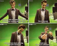 Matt Smith saying goodbye to Doctor Who.