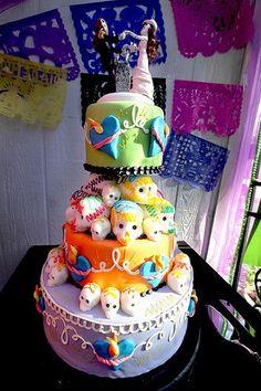 Isn't this wedding cake adorable? #skull #cake #wedding #skullsonskulls #rebel #rebelcircus