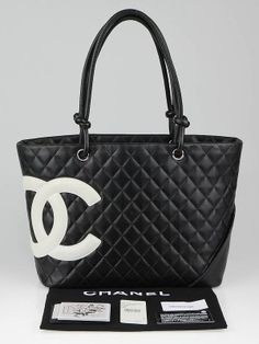 This is a chic and stylish bag from the Chanel Ligne Cambon collection and is very popular among Chanel lovers everywhere. The black quilted leather features a bold white leather CC logo and silver color hardware. The interior is roomy with bright pink lining that has two zippered pockets, cell phone pocket and two pen holders. Makes a perfect everyday carryall. This popular beige combination is ultra sophisticated, you won't want to leave home without it! Please note this bag was originally…