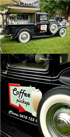 1932 Ford Pickup Truck selling take-away coffee and sporting some funky, retro signage.