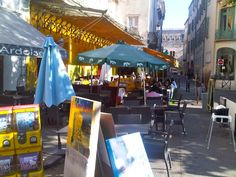 The yellow Cafe Van Gogh in Arles #France, where Vincent Van Gogh drank absinthe and argued with fellow artist Gauguin. After which he cut off his ear.