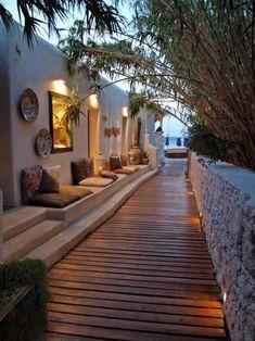 aménagement extérieur, décoration d'extérieur style grecque