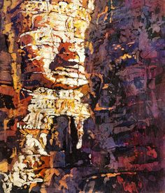 Watercolor batik on rice paper of xmiling face statues at ruins of Bayon temple- Siem Reap, Cambodia