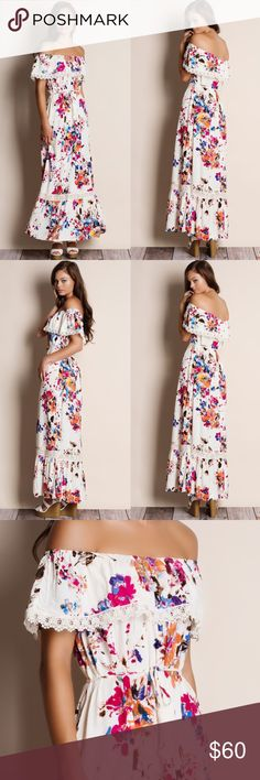 "Off Shoulder Floral Maxi Dress Off shoulder floral maxi dress with crochet inserts. This is an ACTUAL PIC of the item - all photography done personally by me. Model is 5'9"", 32""-24""-36"" wearing the size small. NO TRADES DO NOT BOTHER ASKING. PRICE FIRM. Bare Anthology Dresses Maxi"