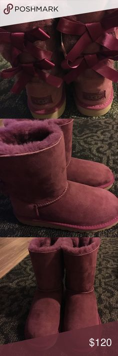 Authentic UGG Bailey Bow Boots BRAND NEW Without box! Nvr been worn! Beautiful Color Garnet! It's like magenta color! Fur line! UGG Shoes Ankle Boots & Booties