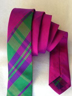 Magenta Raw Silk Tie with Polyester Plaid