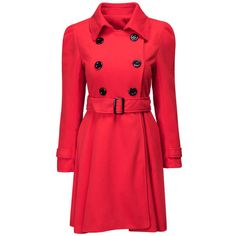 Turn Down Collar Double Breasted Removable Belt Plain Coat (€41) ❤ liked on Polyvore featuring outerwear, coats, double-breasted coat, print coat, pattern coat, red double breasted coat and red coat