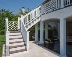 second story decks | The stairs from the upper deck turn back to to the patio from the ...