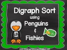 FREE - Digraph Sorting - CH, SH, TH, WH using Fish and Penguins clipart and sorting mats. Super Cute!
