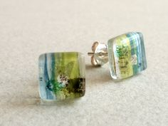 Fused glass earrings  Glass and sterling silver studs by BGLASSbcn