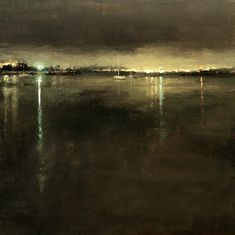 Distant Lights from the Bay - Jeremy Mann Urban Landscape, Abstract Landscape, Landscape Paintings, Nocturne, Art Mann, Moonlight Painting, Art For Art Sake, Beautiful Paintings, Painting Inspiration